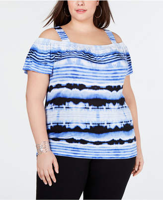 INC International Concepts I.n.c. Plus Size Cold-Shoulder Tie-Dye Top