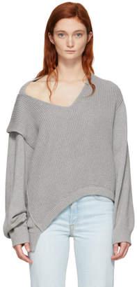 Alexander Wang Grey Utility V-Neck Sweater
