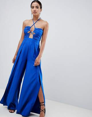 Asos Design Jumpsuit With Cut Out Detail In Jaquard