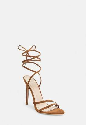 Missguided Tan Faux Suede Pointed Toe Lace Up Heeled Sandals