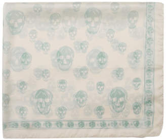 Alexander McQueen Ivory and Green Skull Scarf