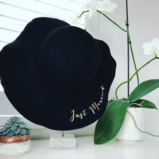 Baby Yorke Designs Just Married Ladies Floppy Pom Pom Hat