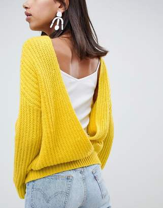 Asos Design DESIGN chunky sweater with v back