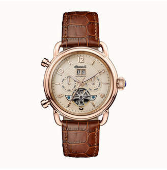 Ingersoll New England Automatic with Rose Gold Ip Stainless Steel Case, Rose Gold Dial and Brown Croco Embossed Leather Strap