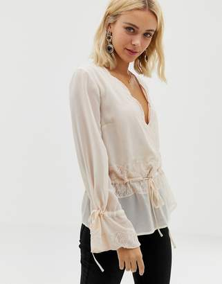 Asos Design DESIGN sheer wrap long sleeve top with lace trims