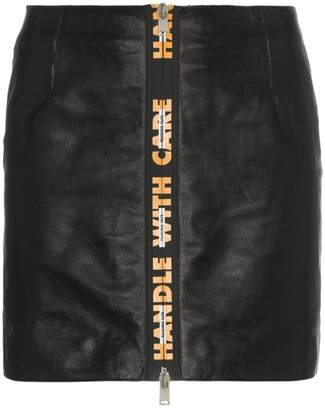 Heron Preston Handle With Care high waist leather mini skirt