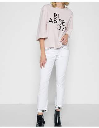 7 For All Mankind Dylan With Think Ahead Print On Cuff In White Fashion