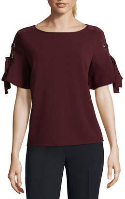 WORTHINGTON Worthington Short Sleeve Lace Up Media Top