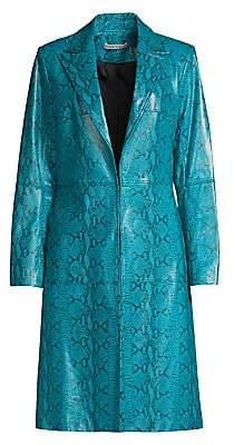 Alice + Olivia Women's Logan Snake-Print Leather Coat