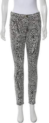 Frame Mid-Rise Skinny Animal Print Jeans w/ Tags