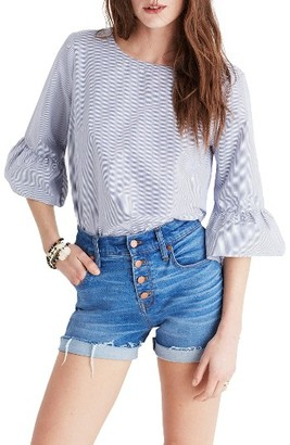 Women's Madewell Stripe Bell Sleeve Top $69.50 thestylecure.com