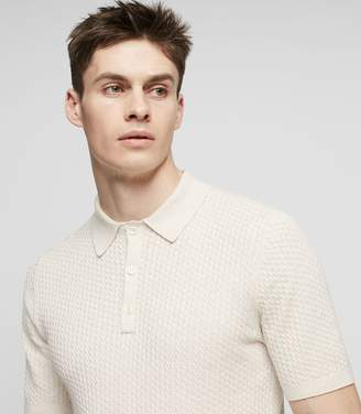 Reiss ALFRED TEXTURED POLO SHIRT Oatmeal