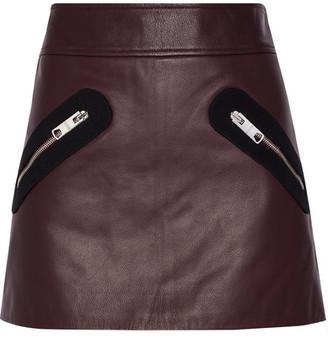 Versus Versace - Twill-trimmed Leather Mini Skirt - Burgundy