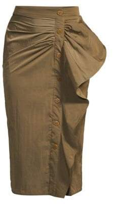 Max Mara Women's Zeno Taffeta Ruffle Pencil Skirt - Tobacco - Size 10
