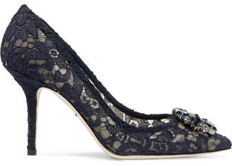 Dolce & Gabbana Crystal-embellished Corded Lace Pumps - Navy