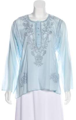 Neiman Marcus Embroidered Long Sleeve Tunic