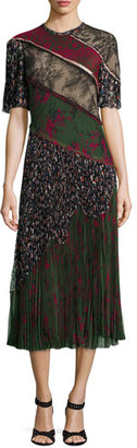 Jason Wu Printed Lace-Inset Pleated Dress, Military/Multi $2,995 thestylecure.com