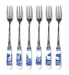 Spode Blue Italian Pastry Forks Set Of Six
