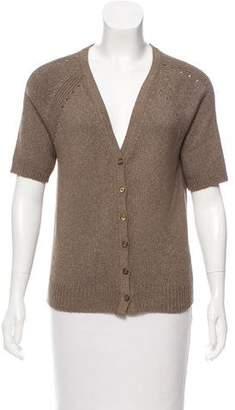 St. John Sport Rib-Knit Short Sleeve Cardigan