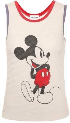 Saint Laurent Mickey Mouse cotton tank top