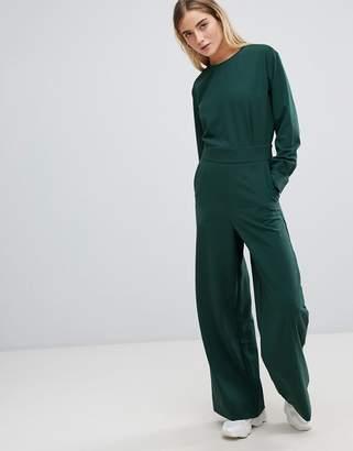 Weekday wide leg open back jumpsuit in dark green