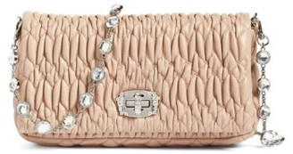 Miu Miu Small Crystal Embellished Nappa Shoulder Bag - Orange $1,660 thestylecure.com