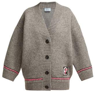 Prada Logo Patch Wool Cardigan - Womens - Grey Multi