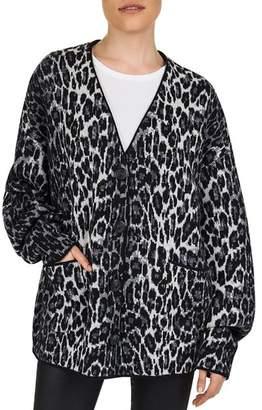 The Kooples Oversized Leopard-Pattern Wool Cardigan