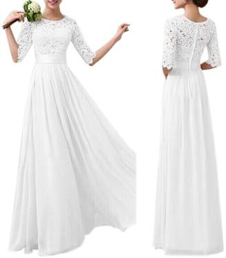 Eiffel Store Eiffel Women's Lace Splice Chiffon Floor-length Cocktail Long Dress Bride Bridesmaid Wedding Dresses
