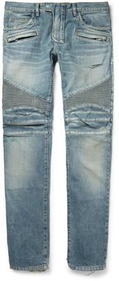 Balmain Slim-Fit Distressed Denim Biker Jeans $1,480 thestylecure.com