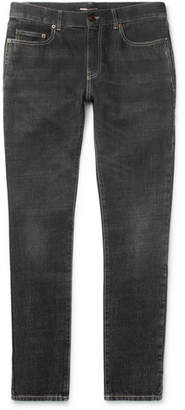Saint Laurent Skinny-Fit 16cm Hem Washed-Denim Jeans
