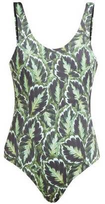 Reina Olga For A Rainy Day Leaf Print Swimsuit - Womens - Green Multi