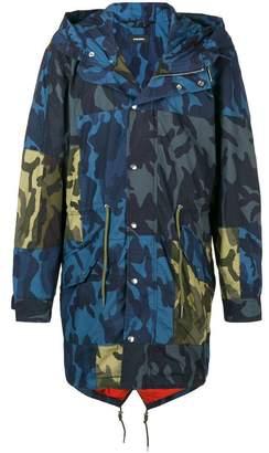 Diesel camouflage print parka coat