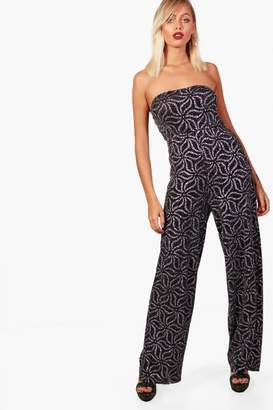 boohoo Off the Shoulder Wide Leg Jumpsuit