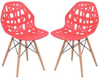 Mid-Century MODERN LeisureMod Akron Dining Side Chair With Wood Dowel Legs in Red Set of 2