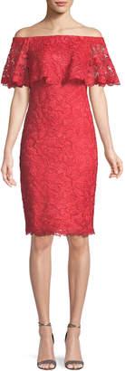 Tadashi Shoji Popover Lace Ruffle Off-the-Shoulder Dress