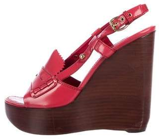 Louis Vuitton Leather Loafer Wedges