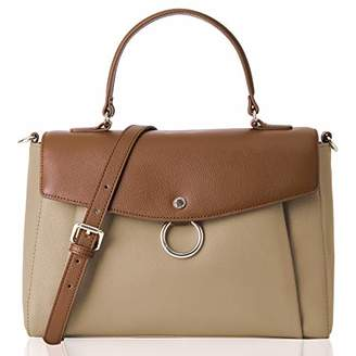 Co The Lovely Tote Women's Genuine Leather Color Block Satchel Business Crossbody Handbag