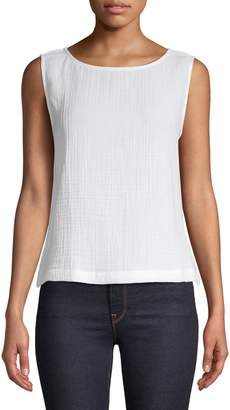 Eileen Fisher Cotton Boat Neck Tank Top