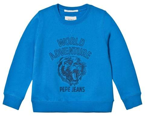 Blue Ronald World Adventure Tiger Graphic Crew Sweater