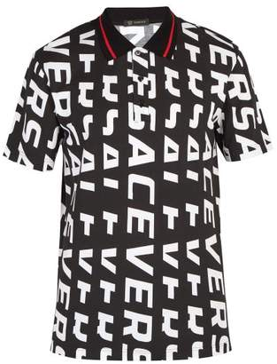 Versace Logo Print Cotton Polo Shirt - Mens - Black White