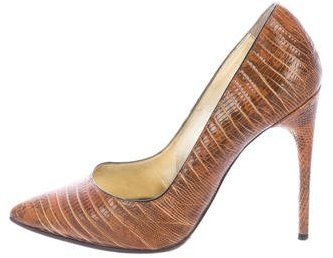Tom Ford Lizard Pointed-Toe Pumps