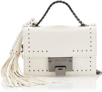 Jimmy Choo REBEL SOFT MINI Chalk Leather with Mini Studs and Tassel Mini Cross Body Bag