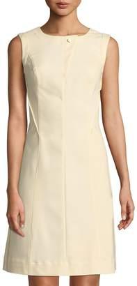 Donna Karan Button-Neck Fitted Dress