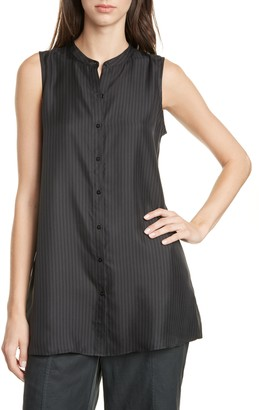 Eileen Fisher Tonal Stripe Sleeveless Silk Blouse