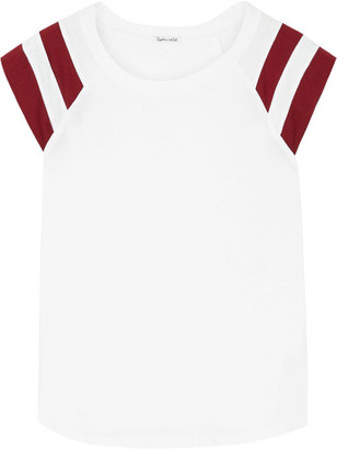 Splendid - Varsity Active Striped Cotton And Modal-blend Jersey T-shirt - White $105 thestylecure.com
