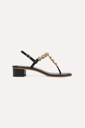 Musa Crystal-embellished Textured-leather Sandals - Black
