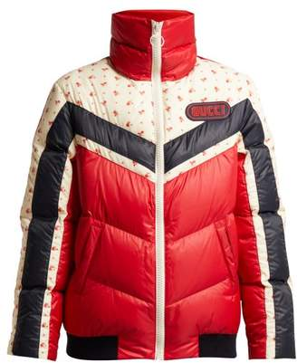 Gucci Chevron Panelled Quilted Jacket - Womens - Red