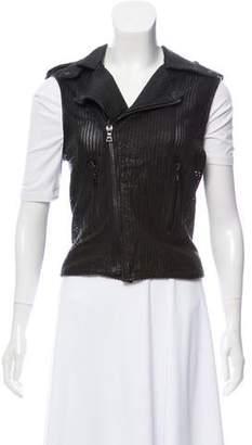 RtA Denim Leather Perforated Vest