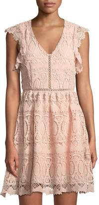 J.o.a. Crochet-Lace Mini Fit-&-Flare Dress